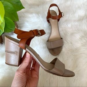 Chloé Two-Tone Leather Block Heel Sandal